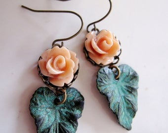 Patina Leaf Earrings, Peach Flower, Bohemian Earrings, Small, Botanical, Garden Jewelry, Vintage style, Gardendiva