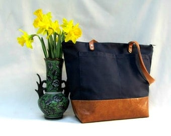 SARAH D. HANDBAG // Waxed Canvas Tote // Waxed Canvas and Faux Leather Carry-All // Navy Blue Tote