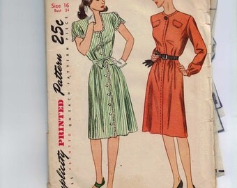 1940s Vintage Sewing Pattern Simplicity 2064 Misses One Piece Day Dress Size 16 Bust 34 1940s