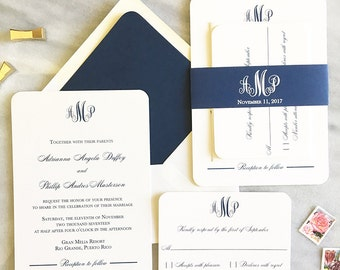 Elegant Navy Wedding Invitation - Sample