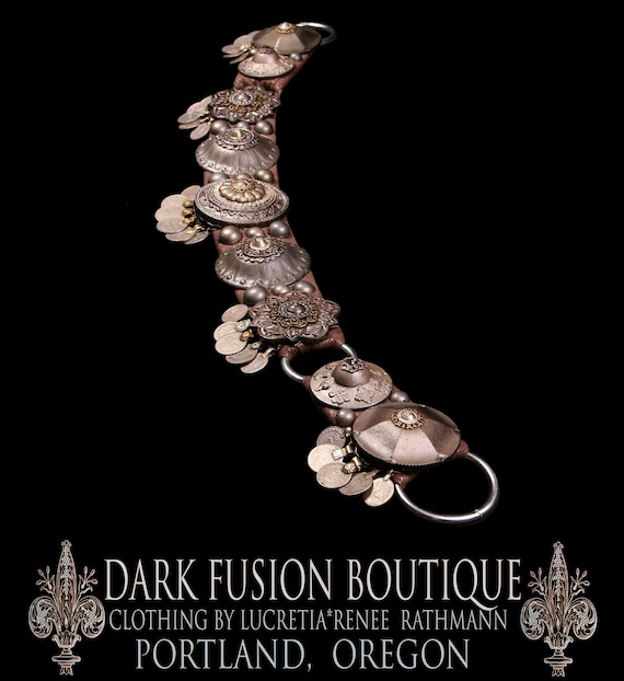 """Bellydance BELT, XL, 38""""-41"""" Inches, 96.5cm-104.5cm, Dark Silver, Kuchi Coins, Fusion, Vintage, Noir, Nouveau, Ritual, Tribal, Costume"""