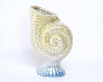 Vintage Ceramic Nautilus Shell Shaped Lusterware Vase in Iridescent Yellow & Blue
