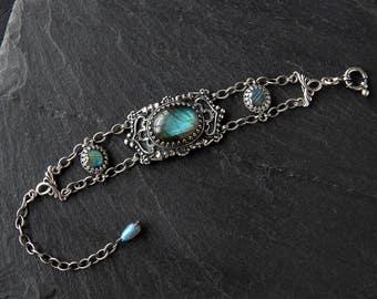 Gothic Labradorite Bracelet: Sterling silver, natural gemstone jewelry, adjustable 6-8.25 inch length, blue green cabochon, statement piece