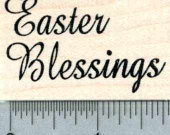 Easter Blessings Rubber Stamp E31712 Wood Mounted