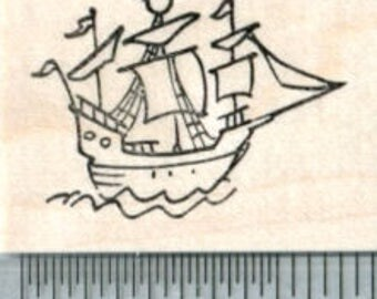 Tiny Pirate Ship Rubber Stamp D32223 Wood Mounted