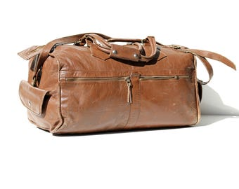 Vintage Maple Wood Brown Leather Weekender Duffel Bag