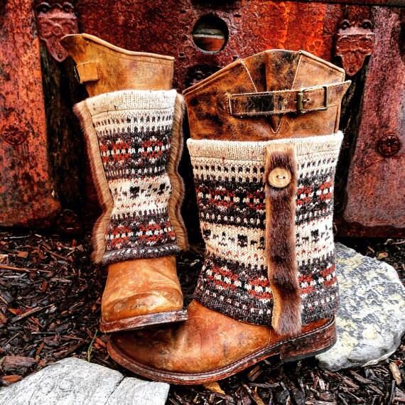 Fair Isle MUK LUKS Tall Paneled Boot Sweaters, Mongolian Faux Fur Trim ~ Made to Order