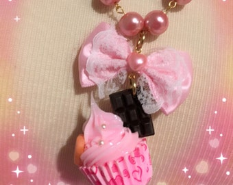 Pink Frosting And Chocolate Cupcake Bow Beaded Glass Pearl Necklace