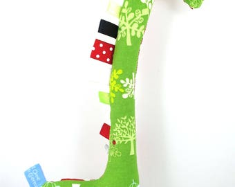 Handmade Taggy Giraffe Tactile Baby Toy - red/white polka dots & green apple trees