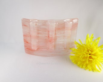 Curved Vase Fused Glass Pocket Vase Divided Test Tube Bud Vase Salmon