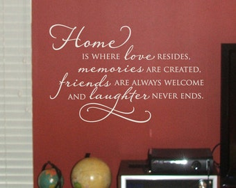 Home is where love resides Wall Decal - Home Quote - Family Saying - Inspirational Wall Decal - Wall Decor