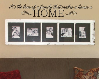 Love of a family wall decal - custom color - family wall decal - horizontal layout with swirls