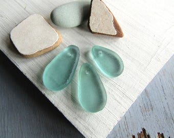 Aqua Recycled glass pendant, drop teardrop, green blue frosted transparent sea green tone, aquamarine color  25 to 31mm (2 pendants) 6BK10