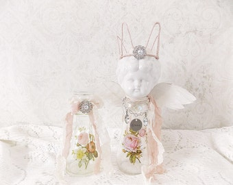 Shabby Cottage Chic Frozen Charlotte Angel Doll Bottle Mixed Media  Assemblage Art