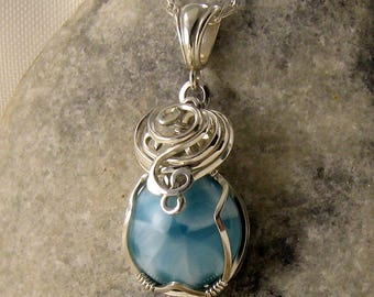 Larimar Jewellery - Larimar Necklace - Blue Gemstone Pendant Pendant - Larimar Jewelry - Wire Wrapped - Sterling Silver - Dolphin