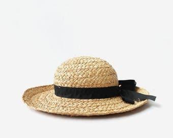 Vintage Wide Brim Raw Straw Hat