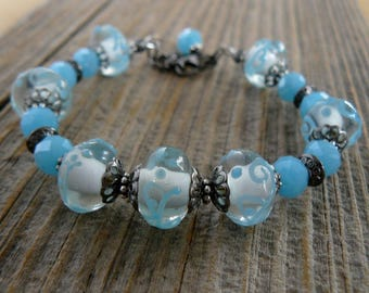 Aqua and White Bracelet, Turquoise Blue Lampwork Glass Bead Bracelet, Aqua Jewelry, Summer Jewelry, Gift for Her, Mother's Day Gift