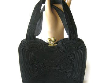 1950s Vintage Black Corded Handbag / Rockabilly Style / Swing Style / Black Handbag with Gold Frame and Kiss Clasp