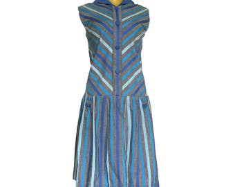 1960s Vintage Dropwaist Scooter Dress / Gray and Blue Diagonal Stripe Dress / Styled by Duprez London