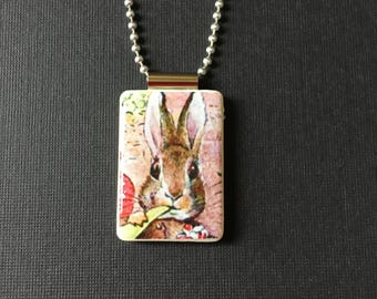 Bunny jewelry, Peter Rabbit Pendant, handmade Easter jewelry, Beatrix Potter necklace, Easter jewelry, recycled Mahjong tile, Easter gift