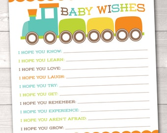 Printable Baby Wishes Card Boys Choo Choo Train Baby Shower Game INSTANT DOWNLOAD PDF