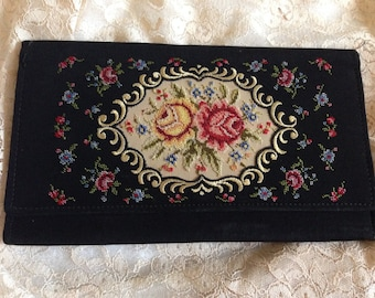 Silk Petit Point Rose Embroidered Clutch
