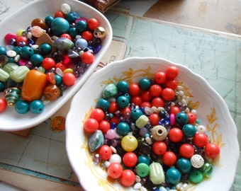 vintage destash bead supply - jewelry making lot - ceramic rhinestone vintage and new wood glass plastic stone gemstone etc