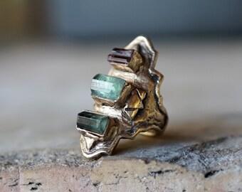 BYZANTINE / Custom Tourmaline Stone Antique Ring, Modern Bohemian Jewelry, Multi Stone Ring, Custom Stone jewelry, Antique Style Ring