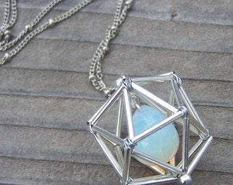 NEW! Geometric Necklace - Icosahedron - Opalite - Serenity - Silver Tones
