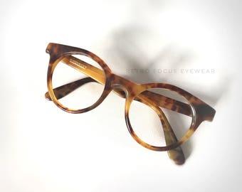 Ralph Lauren Round 80's Hipster Panto Hornrim Eyeglasses Chunky Eyewear Frames Strawberry Demi Amber Auburn Ginger Blonde Tortoise Italy
