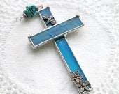 Easter - Glass Suncatcher Cross -Turquoise Glass and Stones - Silver Flowers & Bee - Stained Glass