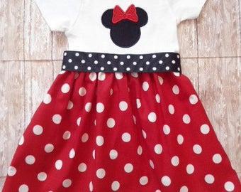 Minnie Mouse Dress, Disney Dress, Girls Red White Dot Dress, Birthday Dress, Girls Dress, Ready To Ship, Size 24M