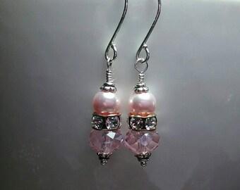 Pink Crystal Earrings - Prom Earrings - Pink Pearl Earrings - Pink Bridesmaid Gifts - For Moms - Spring Weddings - Blush Crystal Earrings