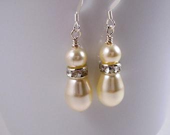 Bridal Shop - Bridal Earrings - For Brides - Teardrop Pearl and Crystal Earrings - Prom Earrings - Romantic Weddings - Bridesmaid Gift Ideas