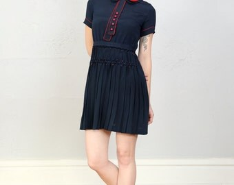 1930s Dress Navy Blue & Red