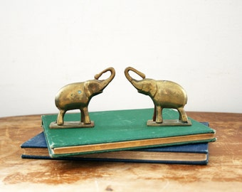 vintage 70s Solid Brass Pair of Small Modern Elephant Paperweight Figurines // Retro Room Decor
