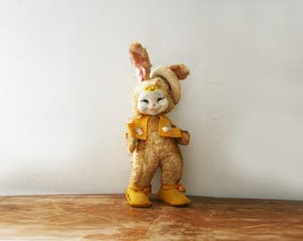 vintage 50s RUSHTON Star Creation Yellow Fur Easter Bunny Rabbit Vinyl Happy Expression Face