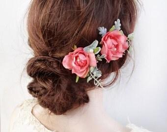 dusty pink hair pins, flower hair pin, pink hair pins, pink hair flower clip, pink floral hairpiece, garden wedding, bridesmaid hair pins