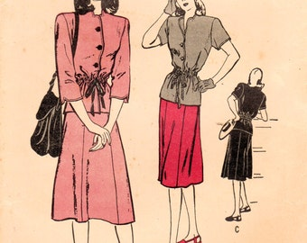 1940s Butterick 4043 Vintage Sewing Pattern Misses Two Piece Dress, Skirt, Jacket, Blouse Size 14 Bust 32