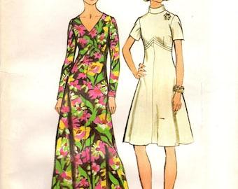 1970s Simplicity 5850 UNCUT Vintage Sewing Pattern Misses A-line Dress, Evening Dress, Formal Gown Size Bust 38,  Bust 44-46