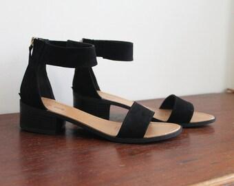 SALE T-Strap Black FAUX Suede Vegan Leather-Look Minimal Simple Design Wooden Block Stacked Heels Sandals