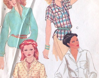 Vintage 70s McCalls Carefree Blouse Shirt Pattern 6433 Full Sleeve, Mod Retro Blouse Top Shirt, size 10