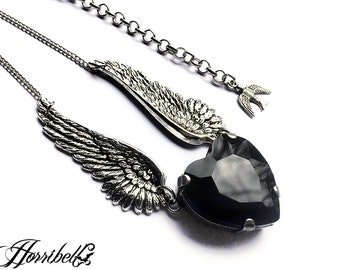 Angel Wings Necklace with Black Heart // Black Heart Necklace // Angel Necklace // Fallen Angel // Angel Wing Jewelry // Heart Pendant