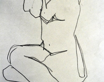 Figure 2, Seated/Nude/Drawing/Charcoal on Newsprint/Matted