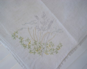 Beautifully simple off white tablecloth - cotton with exquisite decorative stitching