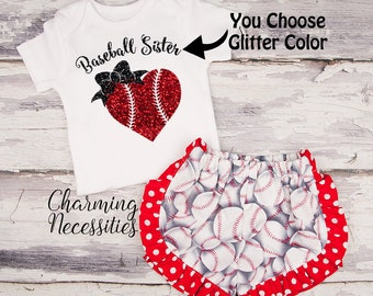 Baseball Sister Glitter Top and Ruffled Shorts Set, Baseball Fan, Baby Girl Onesie Outfit, Toddler Girl Clothes, by Charming Necessities
