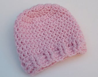 Newborn Crochet Hat, Candy Pink Beanie, Baby Hat, Infant Photo Prop, Coming Home Hat, Baby Girl Hat, Baby Gift, Ready to Ship
