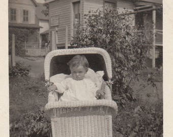 Original Vintage Photograph Snapshot Baby Outdoors in Wicker Buggy 1910s-20s