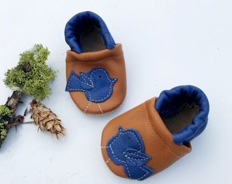 Indigo Blue  Birdie  Soft Soled Leather Shoes Slippers Baby and Toddler