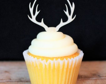 Deer Antlers Cupcake Topper for Rustic Wedding, Birthday, Retirement, Baby Shower, Party, Western Theme